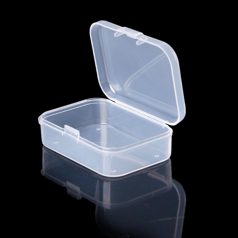 Rectangular Plastic Clear Transparent Storage Box Collection Container Organizer D08F