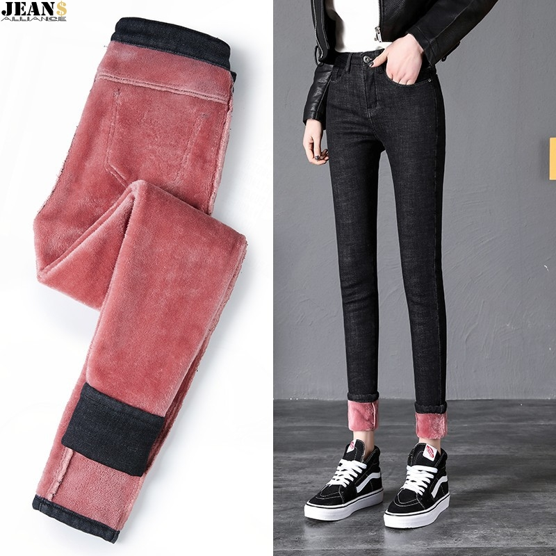 JEANS Winter Leggings Women Plus Size High Waist Stretch Thick Legging Solid Skinny Warm Velvet Pencil Pants Lady Trousers