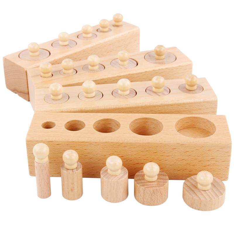 Montessori Young Children'S Educational Cylinder Socket Montessori Early Educational Teaching Aid 1-3-4-Year-Old Sensory Cogniti
