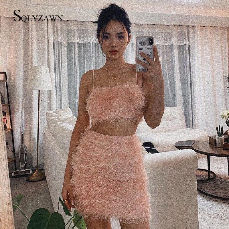 Fashion Pink Bandage Dress Set Tops&Skirts Two Pieces Set Women Fur Tassels Celebrity Evening Party Women Fringe Sets Outfits