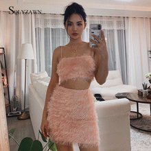 Fashion Pink Bandage Dress Set Tops&Skirts Two Pieces Set Women Fur Tassels Celebrity Evening Party Women Fringe Sets Outfits(China)