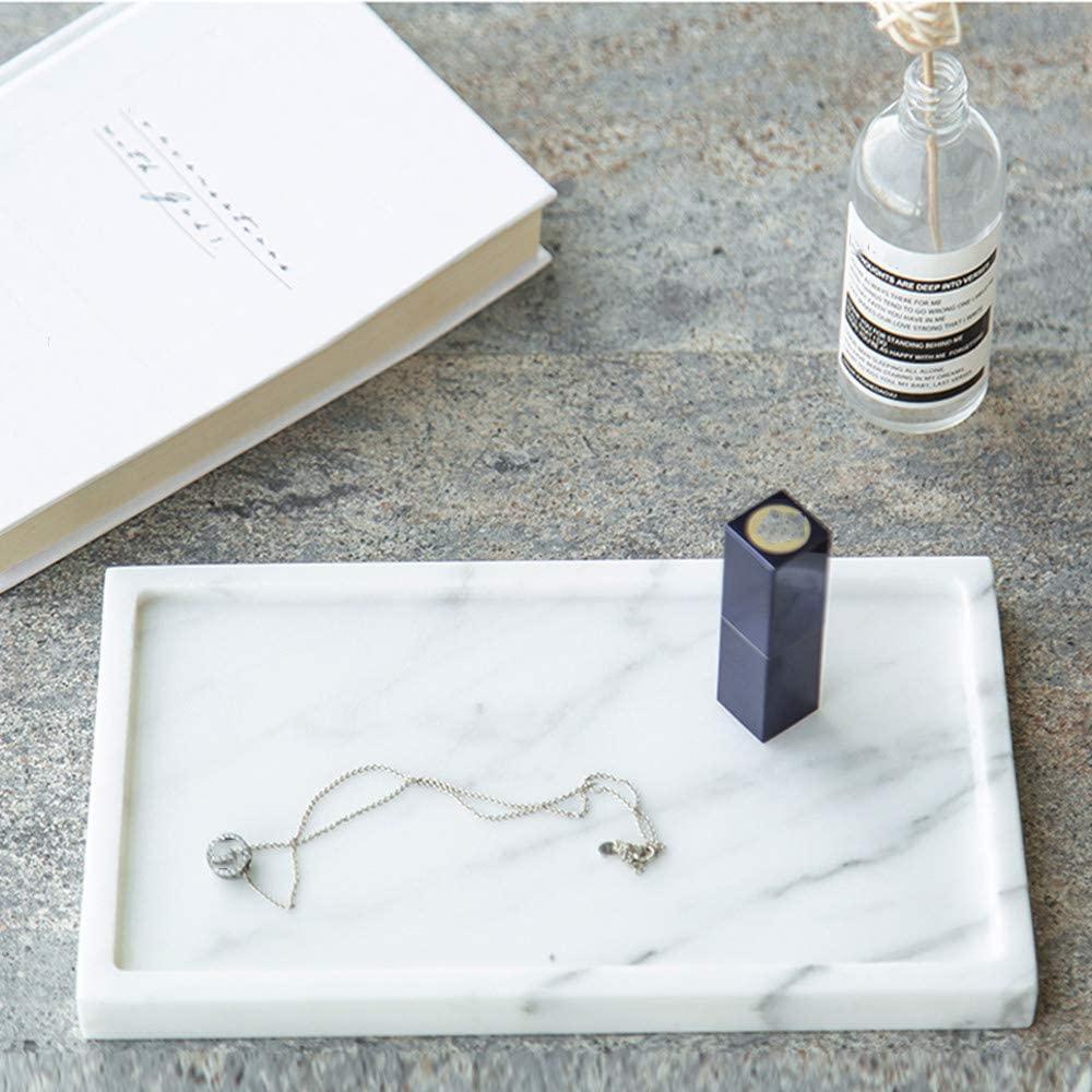 Plateau en marbre intégré naturel | Plateau décoratif de luxe pour bijoux parfum 25x15 cm