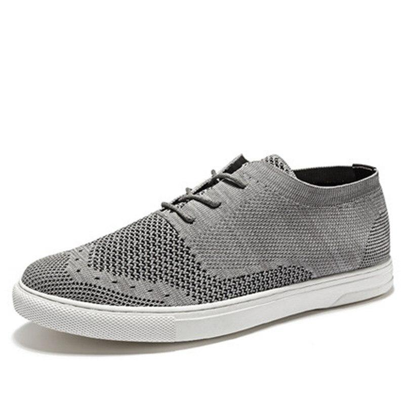 Flyweaver обувь мужская Британский стиль дышащий повседневная обувь с трендовой сетчатой панелью обувь - 6