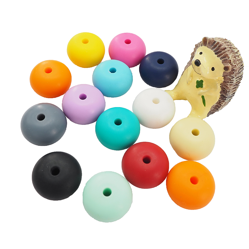 Chenkai 10PCS BPA Free 23*15MM Silicone Abacus Beads Teething Sensory Pacifier For DIY Infant Nursing Necklace Jewelry Gifts