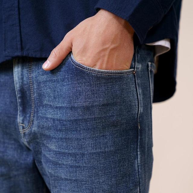 Tapered thick jeans with ankle-length in blue