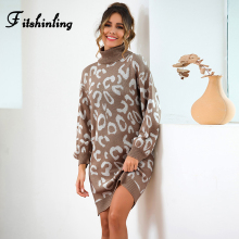 Fitshinling Leopard Turtlenecks Sweaters Dresses Women Knitted Clothing New Arrival Straight Short Dress Female Jumper Vestidos