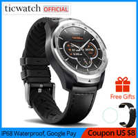 Original Ticwatch Pro deporte reloj inteligente Bluetooth WIFI pagos NFC/Asistente de Google Android Wear Smartwatch GPS IP68 impermeable