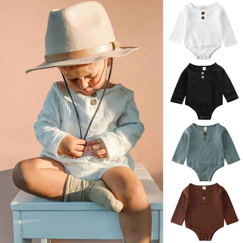 PUDCOCO Baby Kids Boys Girls Infant Solid Romper Jumpsuit Bodysuit Cotton Linen Outfit Set 0-2Y