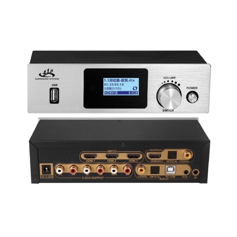 5.1 Audio Decoder Converter Gear DAC USB SPDIF Support HDMI ARC /PC-USB /AUX To Optical Coaxial 5.1ch USB DAC Converter Adapter