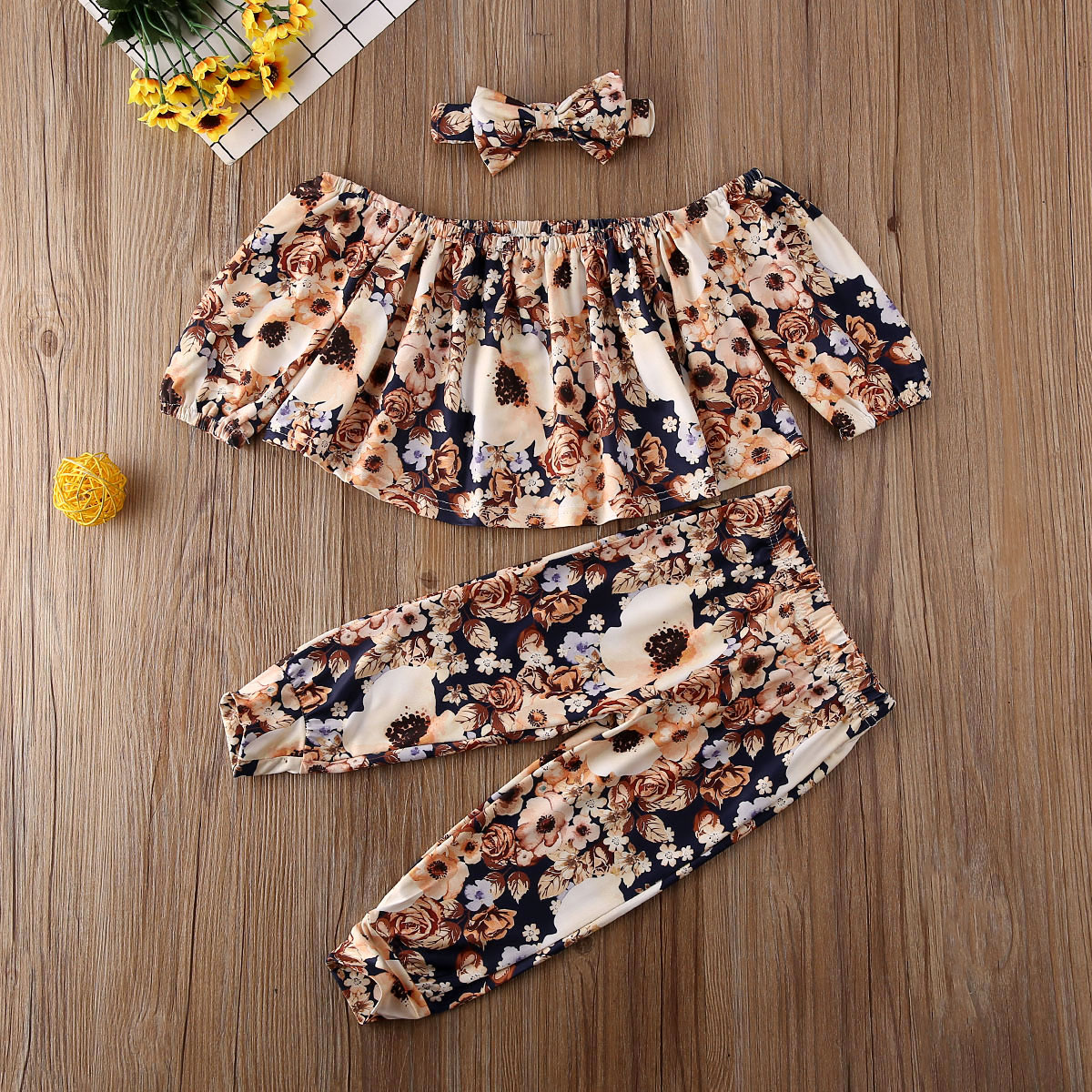 Pudcoco Toddler Baby Girl Clothes Off Shoulder Flower Print Crop Tops Long Pants Headband 3Pcs Outfits Cotton Clothes Autumn Set