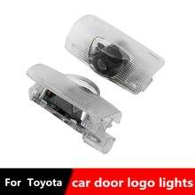 2 uds LED COCHE Luz de bienvenida para puerta proyector Logo de luz láser para Toyota Camry corona Highlander corolla darme cuenta 4 Runner Prado Prius