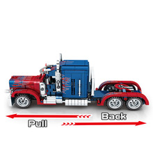SEMBO 849pcs City Classic Pull Back Car Building Blocks Technic Peterbilt Heavy Container Truck Bricks Toys for Boys new sembo block engineering city construction container truck fit technic building blocks toys bricks toys for children kid gift