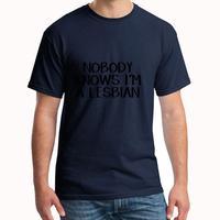С принтом «Nobody Know I'M A лесбийская футболка для мужчин, крутая дышащая хипстерская homme футболка, футболка с круглым вырезом