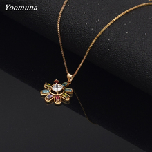 korean necklace multicolor flower choker pendant romantic Chain necklace women stainless steel necklace fashion jewelry