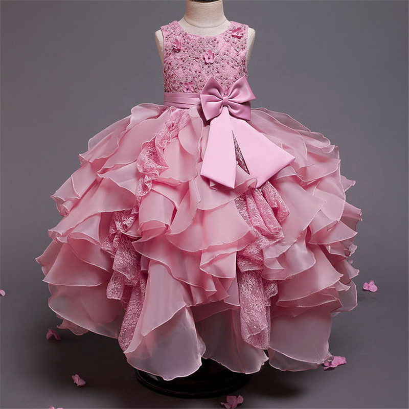Baby Lace Pink Petal Princess Dress For Girl Elegant Birthday Party Dress Girl Dress Baby Girl's Christmas Clothes