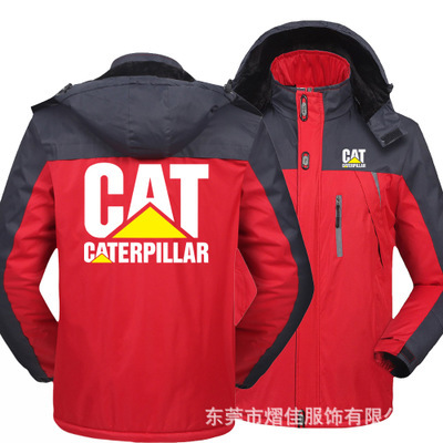 Winter Jacket Men for CAT logo Thick Velvet Warm Coat Male Windproof Hooded Outwear Casual Mountaineering Overcoat 3