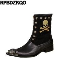 Botas zapatos patrón de cuero de grano completo tobillo
