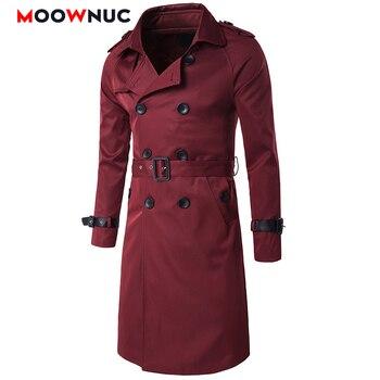 Men Trench Windbreaker European Style Slim Long Solid Fashion Long Trench Coats Hombre Overcoat Jackets Masculino Autumn MOOWNUC