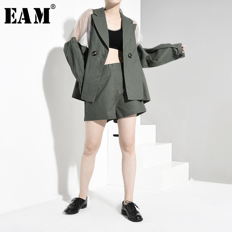 [EAM] Wide Leg Shorts Mesh Two Piece Suit New Lapel Long Sleeve Black Loose Fit Women Fashion Tide Spring Autumn 2020 MG057