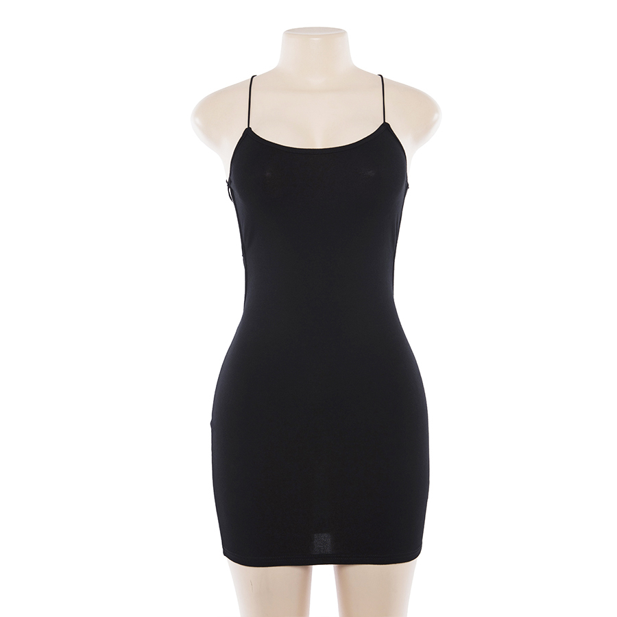 Sexy Black Summer Clothes Women Solid Color Backless Spaghetti Straps Nightclub Dress Bodycon Evening Party Low Neck Mini Dress 9