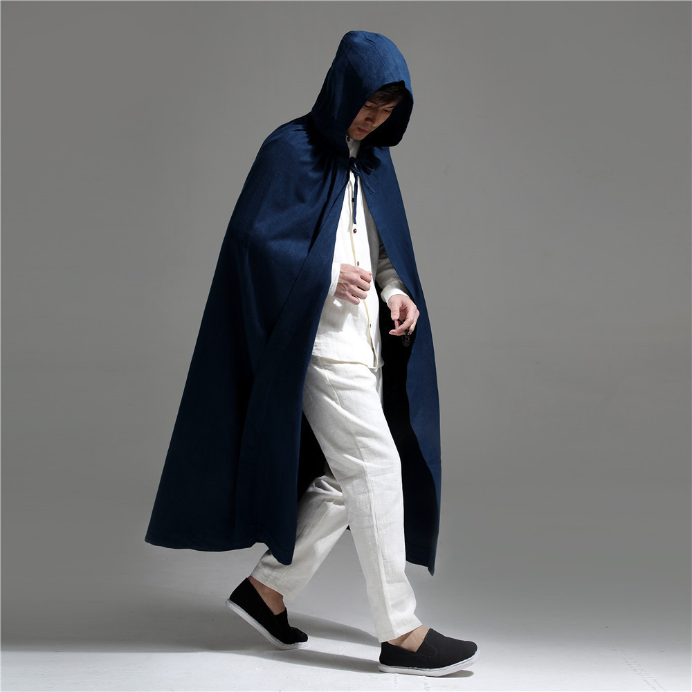 Mens Chinese Style Dark Blue Hooded Cloak Men Cotton Linen   Trench   Coat Male High Quality Cape Loose Extra Long Ponchos and Capes