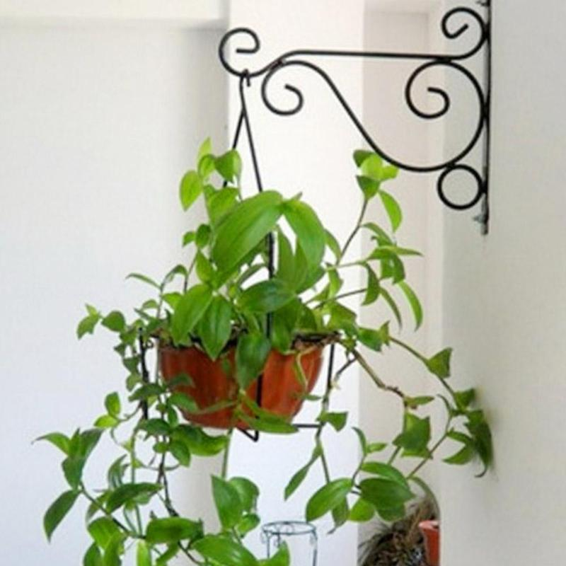 European Style Balcony Plant Flower Pot Wrought Wall Iron Hooks Holder Wall-Mounted Hanging Basket Bracket Stand Home Decor