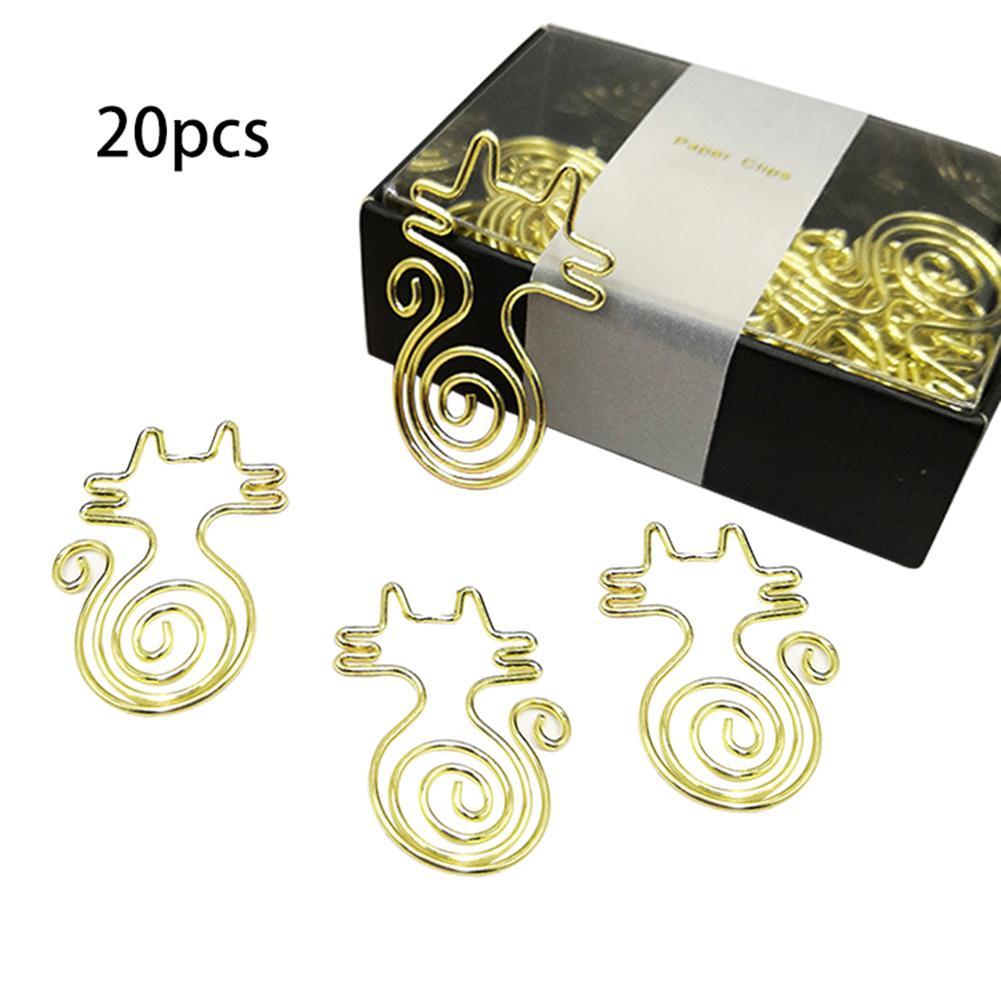 20PCS Paper Clips Cat Shape Cute Innovative Rose Gold Paper Clips Office Desk Accessories For Scrapbooks Notebook