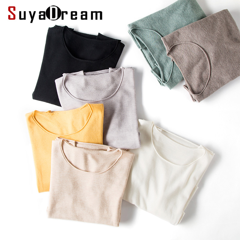 Women Wool Pullovers 100%Wool O neck Long Sleeved Sweater Solid Plain 2019 Fall Winter Bottomting Sweaters