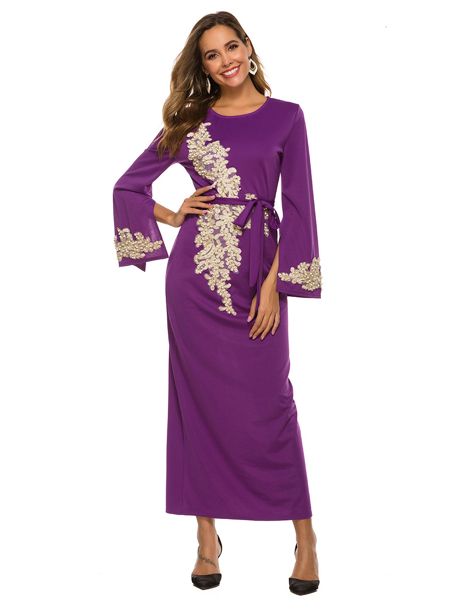 BacklakeGirls Blossoming Muslim Arabic Lace Horn Sleeve Long Evening Dress With Sashes Formal Party Dress Robe Longue Soiree