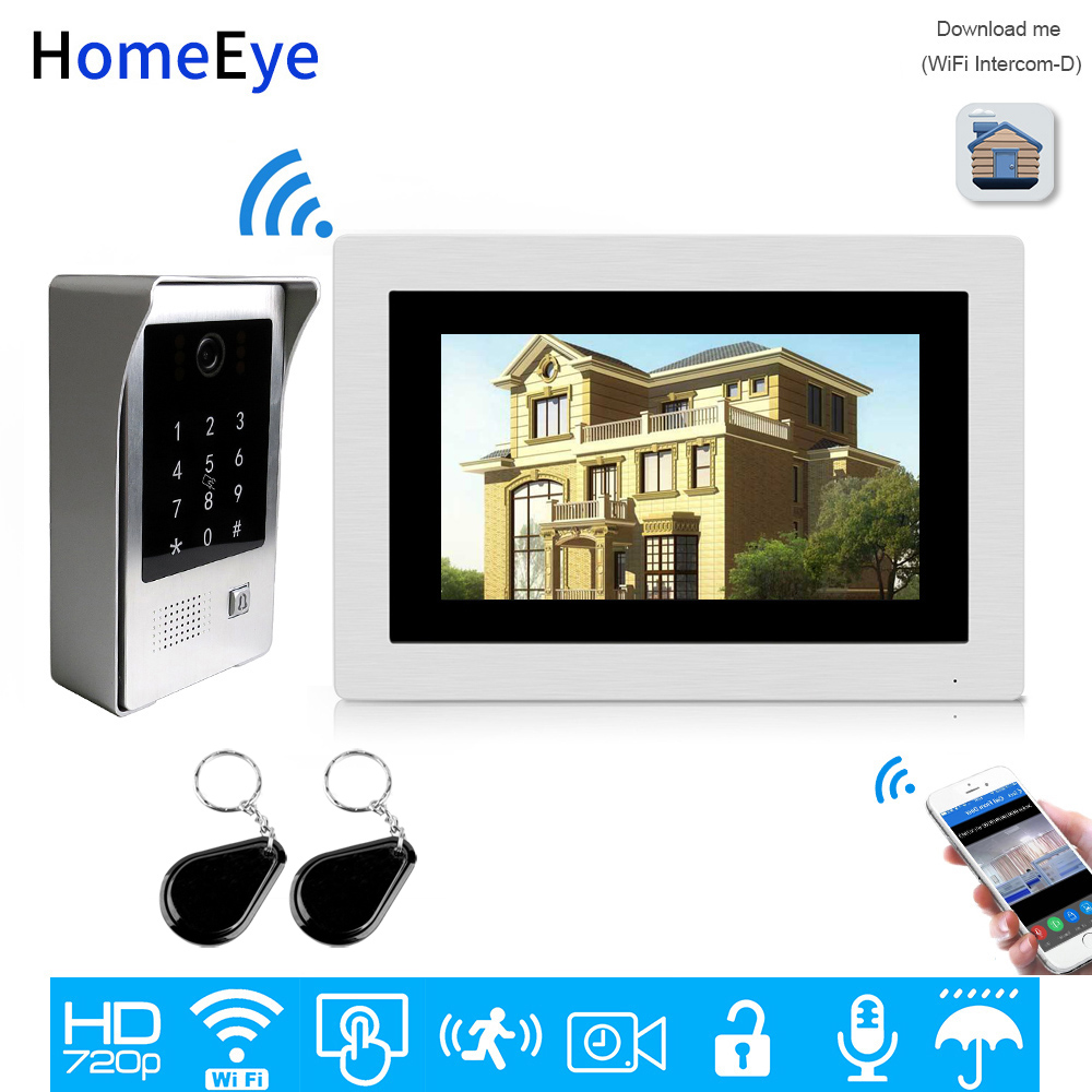 WiFi IP Video Door Phone Video Intercom Touch Screen Free App Remote Unlock Code Keypad IC Card Security Access Control System