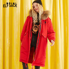 ELF SACK Solid Betty Printed Drawstring Down Coat Women 2019 Winter Fur Collar Loose Boyfriend Style Warm Puffer Ladies Jackets(China)