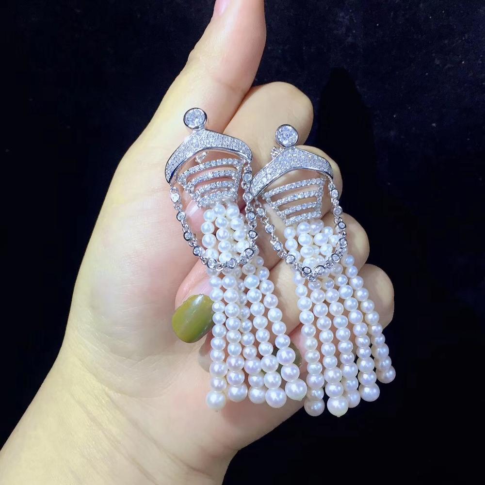 Perle d'eau douce naturelle glands boucle d'oreille longue boucle d'oreille 925 en argent sterling avec zircon cubique bijoux de mode pour mariage de fête
