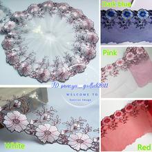 Цветочная Тюлевая кружевная отделка Лента свадебная ткань вышивка