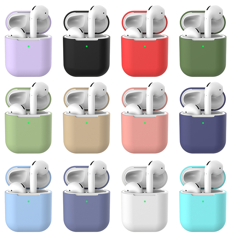 Купить с кэшбэком Candy Color Cases Earphone Case air Pods 2 Silicone Soft Cover Wireless Bluetooth Headphone Pouch For air Pods 1/2 i10 i11 i12