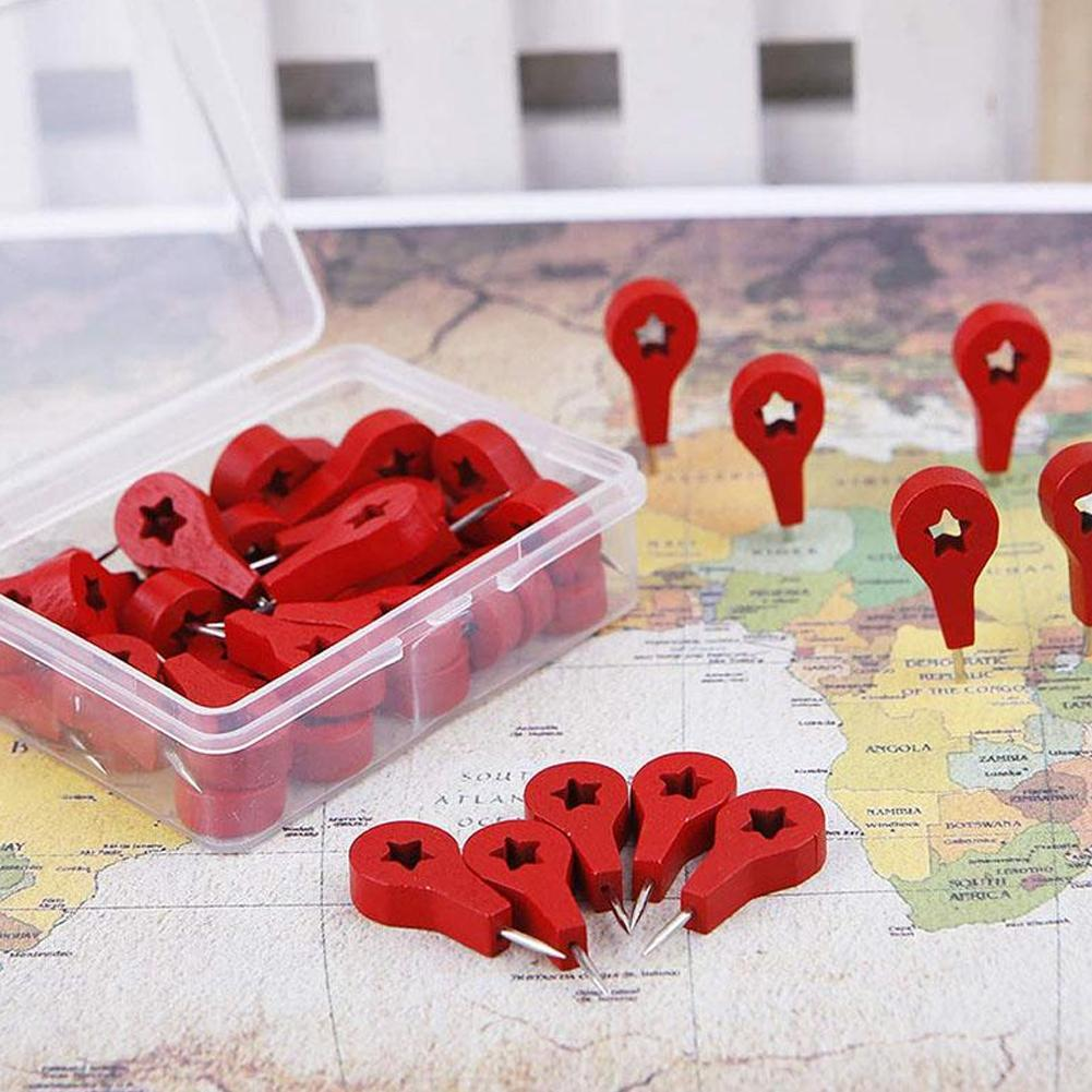 40 Pcs Red Wood Map Markers Thumbtack Pins For Drawing Photo Wall Studs Cork Board Pins School Accessories Pushpin