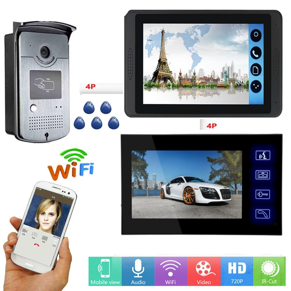 APP Remote Unlock Video Intercom 7 Inch WIFI Wireless Video Door Phone Doorbell RFID Access Camera Speakerphone Intercom System