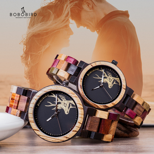 Image 1 - BOBO BIRD Quartz Watch Men reloj mujer Elk Engraving Wooden Women Watches in Wood Box relogio masculino Great Gift for Lover