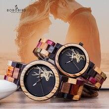 BOBO BIRD 쿼츠 시계 남성 reloj mujer 엘크 조각 나무 여성 시계 나무 상자 relogio masculino 연인을위한 훌륭한 선물