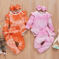 PatPat 2020 New Spring and Autumn 3 pieces Baby Girl Tie dye Sets for 0 12M Baby Girl Clothing Sets