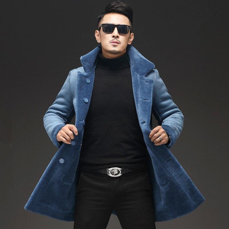 Real Sheep Shearling Fur Coat Winter Jacket Men Real Wool Coats Mens Double-side Wear Suede Jackets L18-7205 MY1457