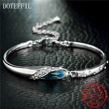 Doteffil luxo prata pulseira 100% 925 prata esterlina charme mulher pulseira aaaa zircon jóias