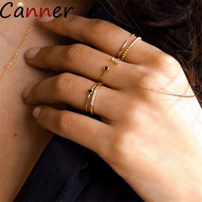 Real 925 Sterling Sliver Ring Women Luxury Simple Design Zirconia Open Female Retro Jewelry Ring Wholesale