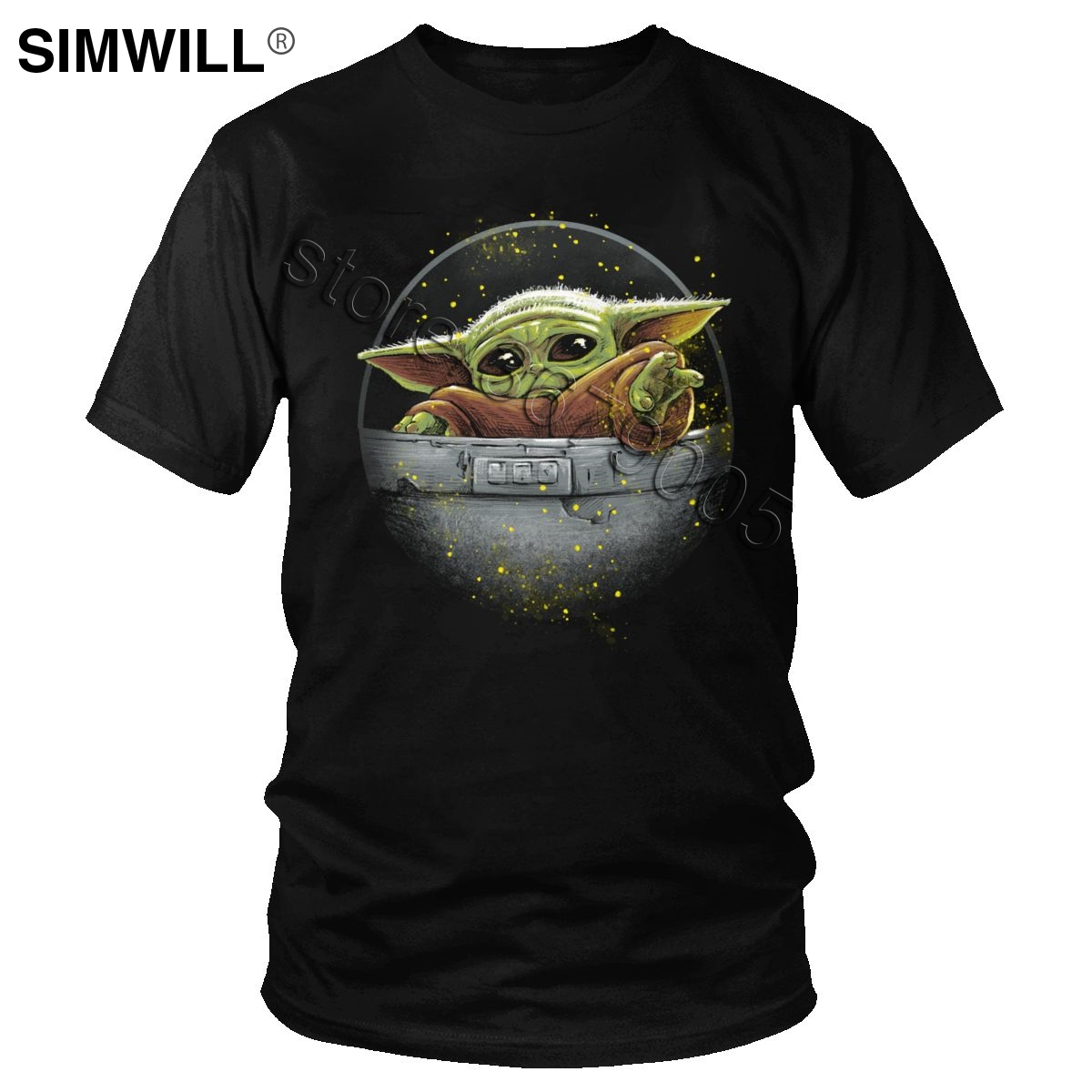 Cute Mandalorian Baby Yoda T Shirt Men Kawaii Printed Cotton T-shirts Crew Neck Short Sleeved Star Wars Tee Tops Gift Apparel