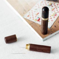 Prático caixa de madeira couro tricô agulha caso diy agulhas de costura caixas caso habitação acessórios de costura do agregado familiar