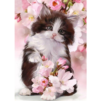 Flowers Cat Full Square Drill Diamond Painting Chritmas 5D DIY Mosaic Painting Home Crafts Animal Rhinestones Picture Cat M1255 image
