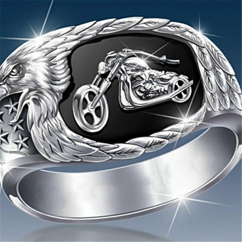 Moda kartal Gallop motosiklet erkek yüzük Punk alyans parmak yüzük kadınlar için Modern düğün takısı aksesuarları hediye B5P797