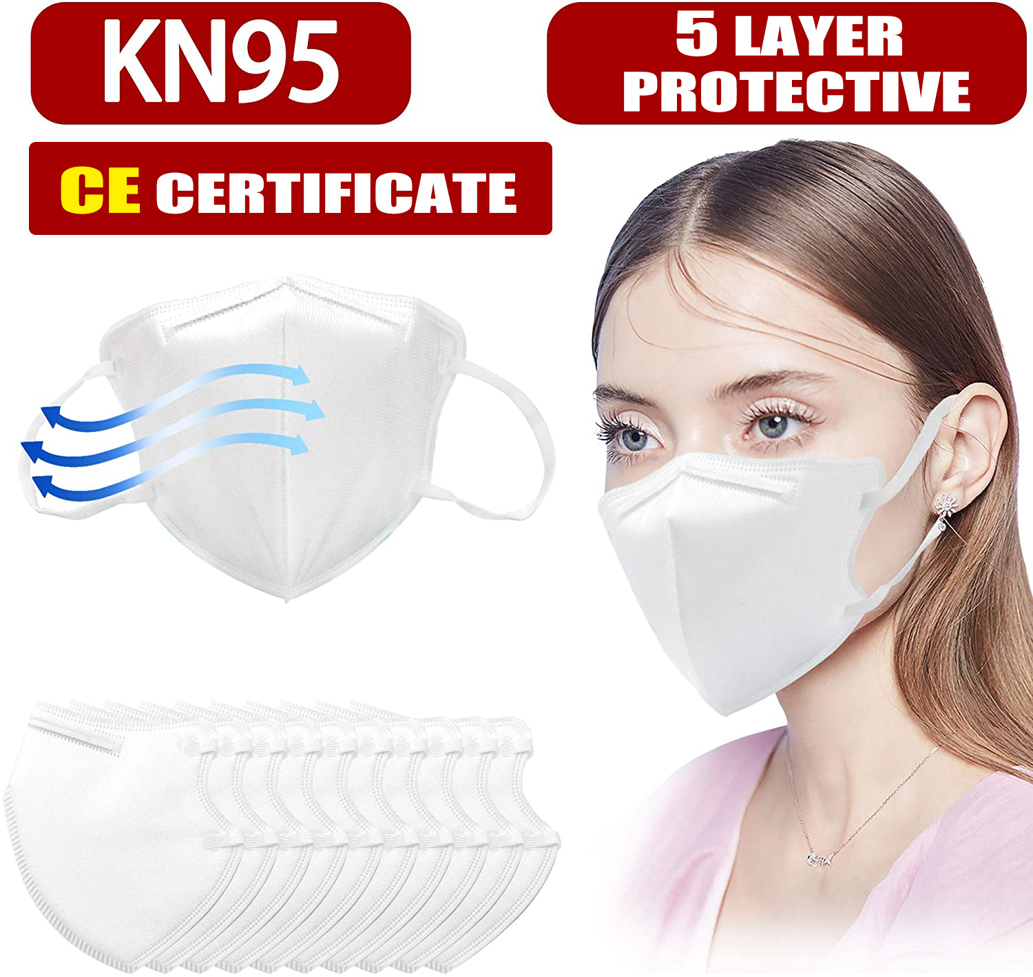 5-500pcs KN95 CE Certification Face Mask N95 FFP3 Mouth Mask Anti Smog Strong Protective Than FFP2 KF94 Másk For Germ Protective