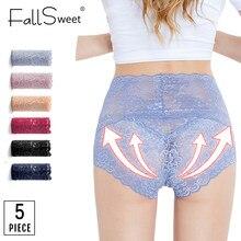 FallSweet 5 adet/grup! Şeffaf kadın külot dantel iç çamaşırı seksi külot See Through yüksek bel külot 3XL