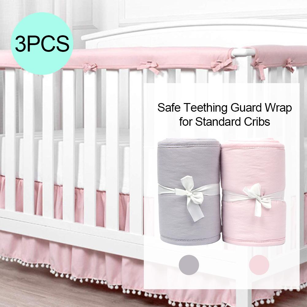 3Pcs Crib Rail Cover Protector Baby Crib Rail Cover Protector Set Safe Teething Guard Wrap For Standard Cribs Side & Front Rails