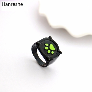 Ladybug Anime Cartoon Black Cat Ring Girl Boy Green Enamel Love Ring Paw Print Cute Jewelry Kid Ring Best Birthday Gift